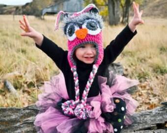 Baby hat, owl hat, fuzzy eyes, pom poms, custom colors available, owl hat,newborn owl hat,winter hat,baby winter hat, animal hat