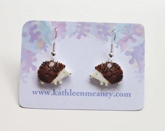 Hedgehog drop animal earrings