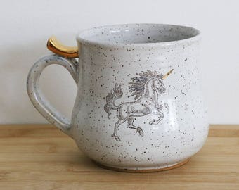 Unicorn Mug with 22k gold (MADE TO ORDER)