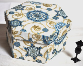 Hexagonal Hand Made Sewing Box - Fabric Covered Cartonnage -  Gilded Starbursts