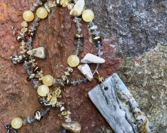 WATER'S EDGE Necklace (Ocean Jasper, Freshwater Pearl, Labradorite, Citrine, Aragonite)