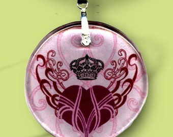 Queen of Hearts - Reversible Glass Art Necklaces - Pink Red Heart Necklace