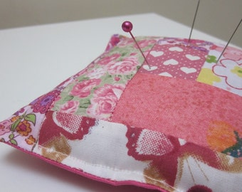 Butterflies and Flowers Pink Patchwork Pincushion