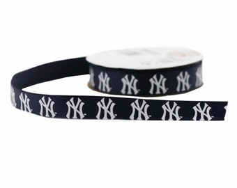Offray MLB New York Yankees Fabric Ribbon, 5/8-Inch by 9-Feet, Blue/White