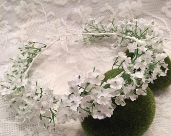 Flower crown, white floral crown, gypsophila flower crown, floral wreath, babys breath headpiece, gyp headpiece, bridal hair accessory