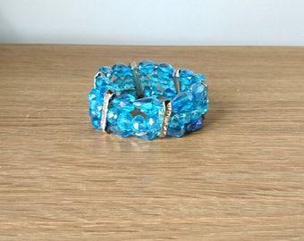 Vintage Bracelet Bangle Blue Glass Crystal Rhinestone Link Bracelet Faux Diamante Chunky Retro