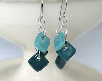 Sterling Silver and Teal Ceramic Earrings, Porcelain Earrings, Dangle Earrings, Surgical Steel or Sterling Ear Wires, Teal Ceramic Jewelry