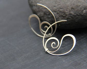 925 sterling silver, spiral hoop earrings