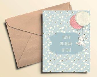 Happy Birthday Bunny Balloons Card
