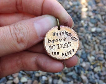 Bronze hand stamped quote charm pendant