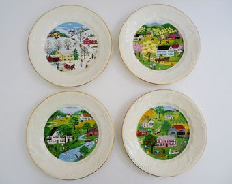 "Royal Crownford Ironstone White Wheat 4 Seasons Country Plates 8"", Set of 4, Spring Summer Fall Winter, Farmhouse Decor"