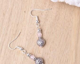 Rose quartz ethnic earrings - Gemstone and silver bead small dangle earrings   Ethnic jewelry   Boho earrings   Tibetan   Pink stone