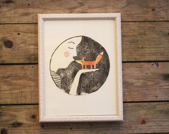 fox lover print linocut print original hand painted mothers day gift woodland art