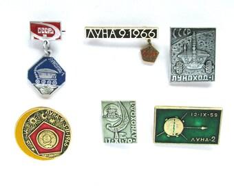 Moon, Set of 6 Soviet Space Badges, Luna, Vintage metal collectible badge, Spacecraft, Soviet Pin, Vintage Badge, Made in USSR, 1980s