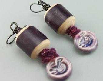 Rustic Earrings, Rustic Boho Earrings, Boho Earrings, Hippie Earrings, Earthy Earrings, Rustic Purple  Earrings, #428-114