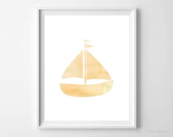 Printable Art Nautical Print Yellow Boat Print Boat Wall Hanging Nursery Art Gender Neutral Baby Gift Nursery Decor Watercolor Boat Poster