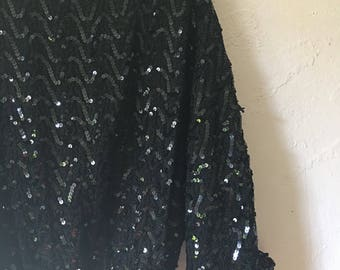 Black Sequin Batwing Sleeve Sheer 80s Blouse
