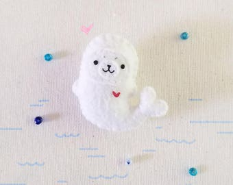 White Seal Brooch or Keychain