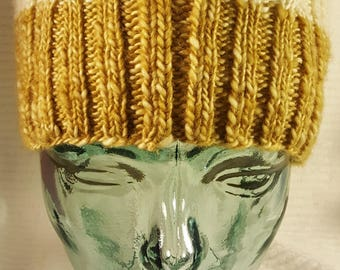 Two Toned Knit Cable Hat
