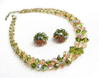 Peridot Green & Champagne Pink Crystal Double Strand Vintage Rhinestone Accent Necklace and Matching Clip Earrings - Estate Jewelry Set