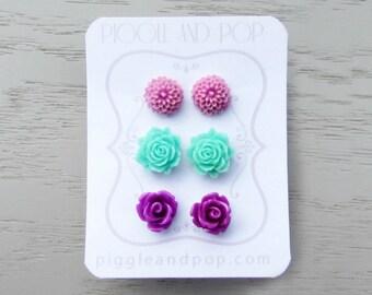 Flower Stud Earrings Set, Purple and Mint, Earring Stud Set, Flower Earrings, Gift for Teen Girl, Small Stud Earring, Cute Rose Stud Earring