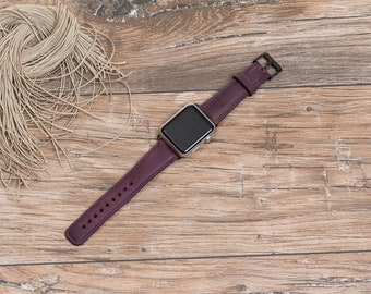 Leather Apple Watch band, 42mm, 38mm, Leather watch band, Apple watch strap, iwatch band, Apple watch leather band,purple iwatch strap#DAAP7