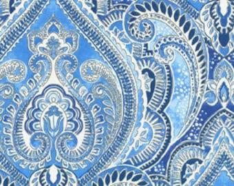 Two 26 x 26 Designer Decorative Pillow Covers Euro Shams - Large Paisley - Grey Luna Blue