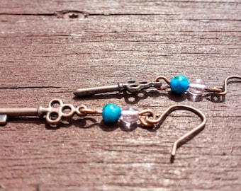 Copper Skeleton Key Earrings
