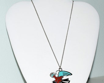 Memorial Day Sale Vintage Southwestern Indian Thunderbird 18 Inch Chain Necklace Nickel Silver Turquoise Black White & Coral Red T-bird