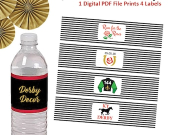 Kentucky Derby Party - Kentucky - Derby - Derby Party - Derby Decor - Water Bottle Labels - Bottle Labels - Napkin Rings - Printable