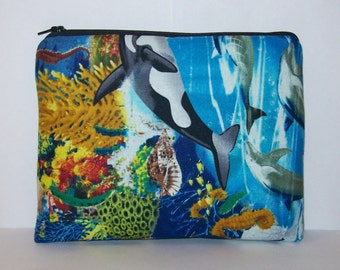 "Pipe Pouch, Ocean Life, Pipe Case, Pipe Bag, Sea Bag, Padded Pipe Pouch, Animal Bag, Pipe Cozy, Gadget Bag, Zipper Bag, 7.5"" x 6"" - X LARGE"