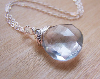 Aquamarine Hydro Quartz Gemstone Necklace - Dainty Drop Necklace - Sterling Silver Necklace - March Birthstone Necklace - Gift for Her