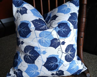 Blue and White Floral Pillow Cover, Navy Botanical Cushion Cover, Leaf Pillow, 18x18 inch Throw Cushion,  Shades of Blue Accent Pillow