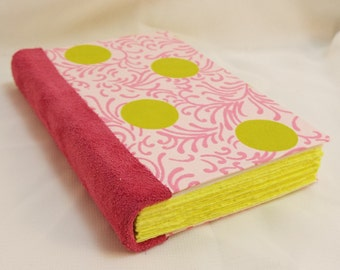 Pink Suede Leather Bound Pocket Journal with Pink and Lime Green Paper Cover