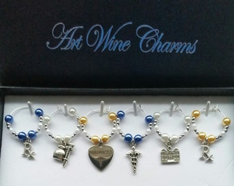 6 Pharmacist  themed Wine Charms, Medicine, Hospital, Thank You, Gift, Themed Party, Party Favor, Gifts under 20, Graduation,Pharmaceutical