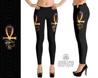 Egyptian leggings, Sacred geometry leggings, Hippie pants, Ankh tights, Yoga leggings, Festival leggings, Eye of Horus, Rave leggings, Cross