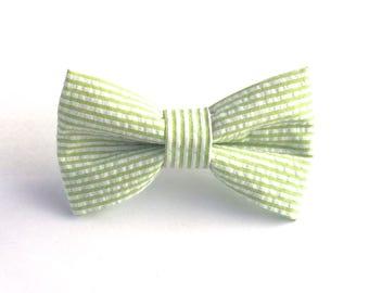 Lime Green Seersucker Dog Bow Tie