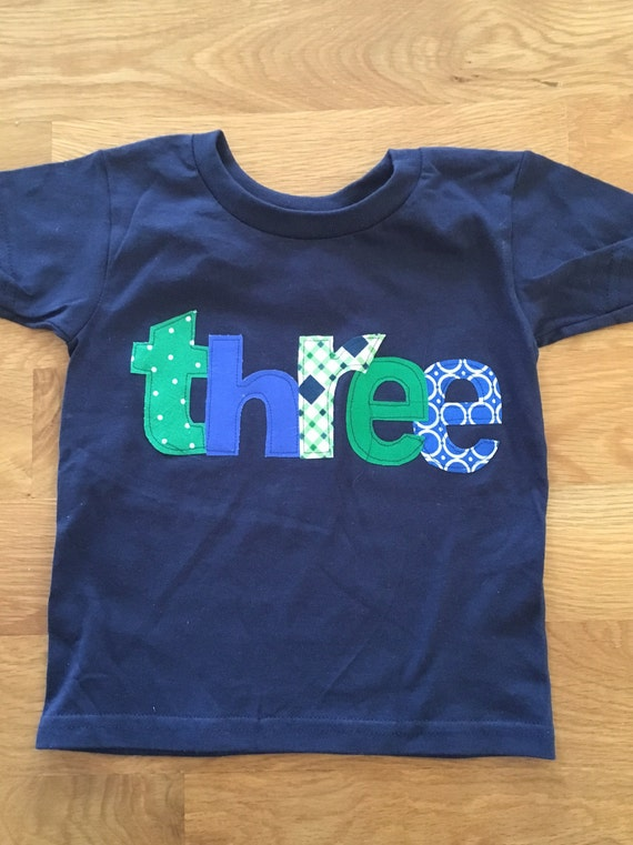 Three boys Birthday Shirt, 3rd birthday Boys Birthday shirt, blue, yellow and green colors pattern, boys birthday shirt