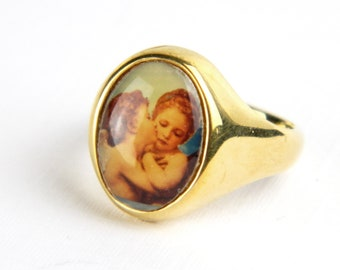 Vintage Victorian Gold Plated Signet Band Ring - Encased Cherubs - Angels - Size 7 - Signed LOUIS STERN