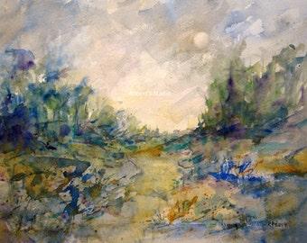 Landscape painting, archival print, watercolor landscape, country landscape, home decor, woodland painting, meadow painting,watercolor print