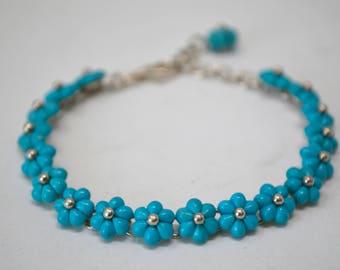 Designer Whitney Kelly WK Turquoise Flower Sterling Silver Bracelet - Designer - Adjustable - Vintage - 515903374