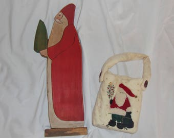 Vintage Handcrafted Santa and Quilted Bag