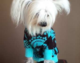Damask Polar Fleece Dog Hoodie - RLH80