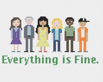 The Good Place - Everything is Fine - Pixel Characters - Cross Stitch PDF Pattern - Instant Download