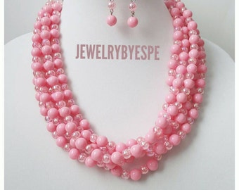 Pink Bead Necklace Statement Necklace Chunky Bib Layered Necklace Wedding Jewelry Multi Strand Blush Pink Necklace