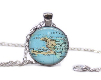 Map of Haiti Necklace Map Jewelry Travel Necklace Haiti Jewelry