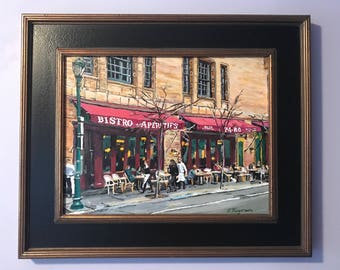 Philadelphia Painting Original. Parc Bistro Restaurant, Rittenhouse Square, Philly painting, Cafe Art, Philly Parisian Cafe by Gwen Meyerson