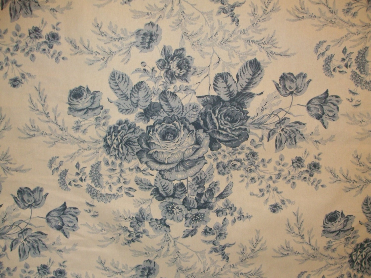 blue and white cabbage rose toile from kingsway fabrics drapery fabric upholstery fabric from. Black Bedroom Furniture Sets. Home Design Ideas