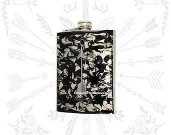 Silver Arrow Flask Inlaid in Hand Painted Enamel Black Ink Swirl Design 8oz Hip Flask withColor and Personalized Option