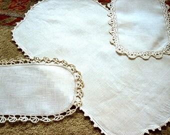 Dresser Runner Bureau Scarf Tablecloth Ivory LINEN & Lace Trim Set 3